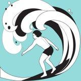 Illustration graphique de vecteur de surfer dans les vêtements de bain Photos libres de droits