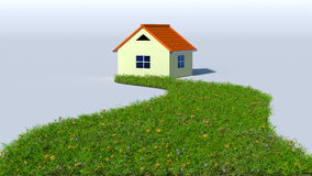 Illustration of grass road to house vector illustration