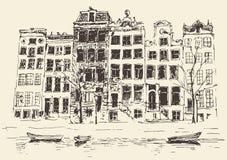 Illustration gravée par vintage d'Amsterdam tirée par la main Image stock