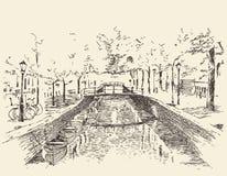 Illustration gravée par vintage d'Amsterdam tirée par la main illustration libre de droits