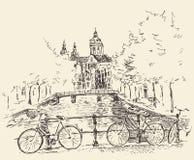 Illustration gravée par vintage d'Amsterdam tirée par la main Images libres de droits