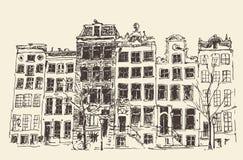 Illustration gravée par vintage d'Amsterdam tirée par la main Photographie stock libre de droits