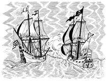 Illustration gravée avec la bataille navale du bateau de pirate et du navire du commerce Photos stock