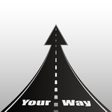 Illustration on gray background with text of road. Your way Stock Images