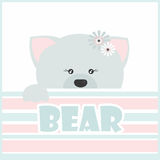 Illustration of gray bear greeting card, poster, invitation for Stock Photo