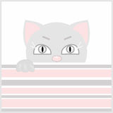 Illustration of gray cat, greeting card, poster, invitation for Stock Images
