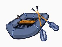 Illustration of gray inflatable boat with oars Stock Images