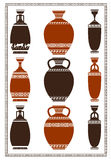 Illustration of greek vases. Illustration of greek ancient vases with meanders Royalty Free Stock Photo
