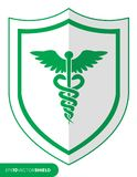 Caduceus medical icon on shield Royalty Free Stock Image