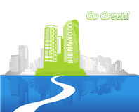 Illustration with green city with water. Stock Image