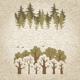 Illustration of green coniferous and deciduous  forest Royalty Free Stock Images