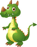 Illustration of green cute dragon posing Stock Images