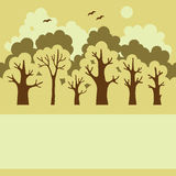 Illustration of green deciduous  forest Stock Image