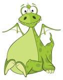 Illustration of a Green Dragon. Cartoon Character Stock Photo