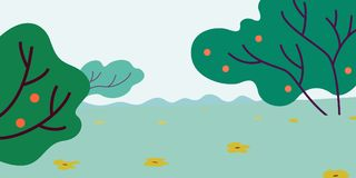 Abstract landscape with trees and flowers. Illustration of green field with trees, oranges, flowers Royalty Free Stock Images