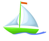 Illustration of green floating boat Royalty Free Stock Photography
