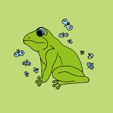 Illustration green frog with butterflies, background. Stock Photos