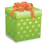 Illustration with green gift box. On white background. Vector Stock Images