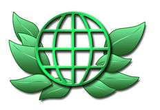 Illustration of green globe and leaves Stock Images