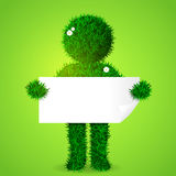 Illustration of green grass man holding blank board. Royalty Free Stock Photos