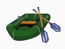 Illustration of green inflatable boat with oars Royalty Free Stock Images