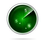 Illustration of green locating radar for business. Radar green screen with dollar symbol points located. Isolated illustration on white background Stock Photo