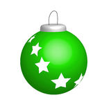 Illustration of green new year ball with stars. On white Stock Photos