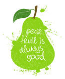 Illustration of green pear fruit silhouette. Stock Photos