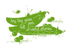 Illustration Of  Green Peas Silhouette. Royalty Free Stock Photography