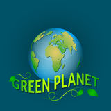 Illustration green planet on a blue background with leaves. Royalty Free Stock Photo