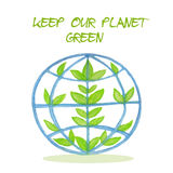 Illustration with green planet. Stock Photo