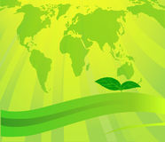 Illustration with green planet and leaves Stock Photography