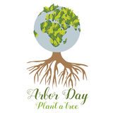 Illustration of the green planet and tree for the Arbor Day. Bright Illustration of the green planet and tree for the Arbor Day Stock Photos