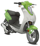 Illustration of a Green Scooter Stock Image