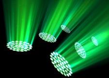 Green spotlights on dark background. Illustration of Green spotlights on dark background Royalty Free Stock Photo