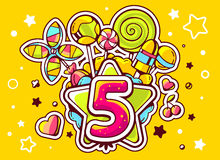 Illustration of green star and pile of sweets with number. Five on yellow background with star and dot. Hand drawn line art design for web, site, advertising Stock Images