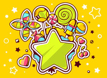 Illustration of green star and pile of sweets  on yellow Royalty Free Stock Photo
