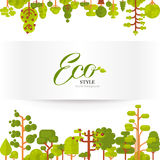 Illustration of green trees and bushes top  bottom on a white background in  flat style Stock Image