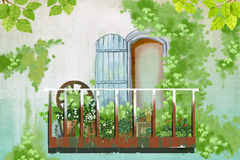Illustration: Green Wall outside the Balcony. Realistic Fantastic Cartoon Style Artwork / Story / Scene / Wallpaper / Background / Card Design Royalty Free Stock Image