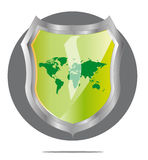 Illustration of green world map in shield. Illustration of green world map in grey shield Royalty Free Stock Image