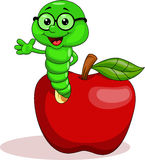 Green worm on apple. Illustration of green worm waving on red apple Stock Photography