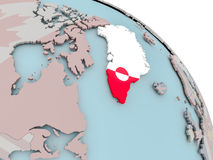 Map of Greenland with flag Royalty Free Stock Images
