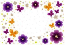 Greeting card with flowers and place for text. Illustration. Greeting card with flowers and place for text. Violet and bard transparent flowers. Butterflies Stock Images