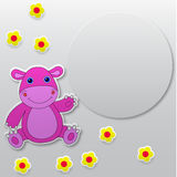 Greeting card with funny hippo waving hand Stock Image