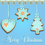 Illustration of greeting card with gingerbread cookies for Chris Stock Photography