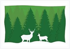 Illustration, greeting card, green spruce and deer.  Royalty Free Stock Photography