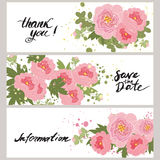 Illustration greeting hand-drawn peony floral background Stock Photo