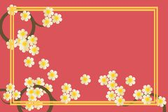 Illustration of greetings card in pink color tone. Beautiful floral and gold colored frame vector. Royalty Free Stock Photo
