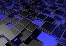 Blue boxes background. Illustration of grey boxes on gradient blue background stock illustration