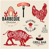 Illustration Grill Menu Labels Set of in Flat Design Style. Royalty Free Stock Photography